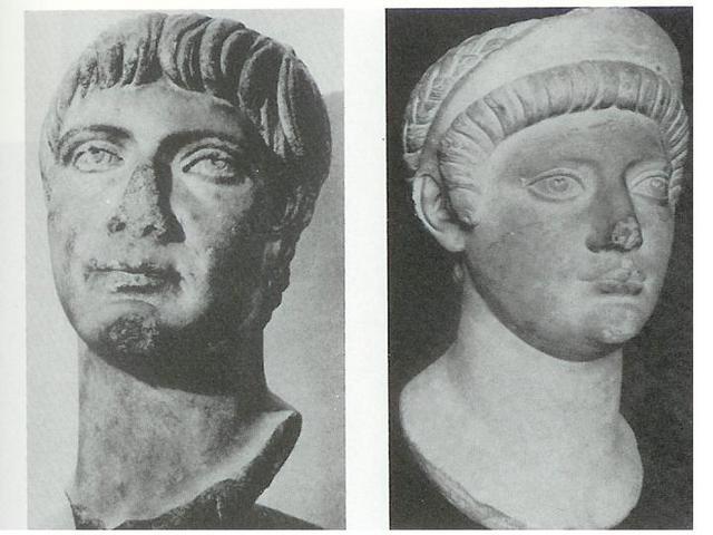 Portrait d'Oppius Severus, Légat de la VIII eme légion sous le règne d'Hadrien et de son épouse - Musée de Strasbourg - d'après JJ Hatt- Argentorate -1993