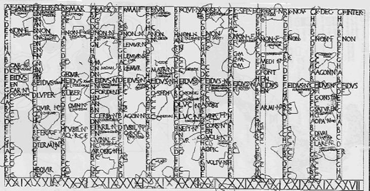 Fasti Antiates Maiores, plus ancien calendrier romain, antérieur à la réforme de Jules César.