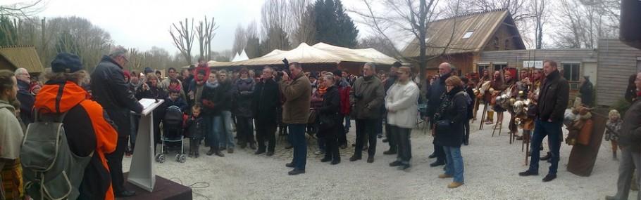 Le discours du président du CG de la Somme à l'arrivée du public et des marcheurs pour l'ouverture saisonnière du parc de Samara.