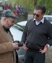 Gérard Coulon en compagnie de René Cubaynes à Bibracte lors du départ de la marche 2010