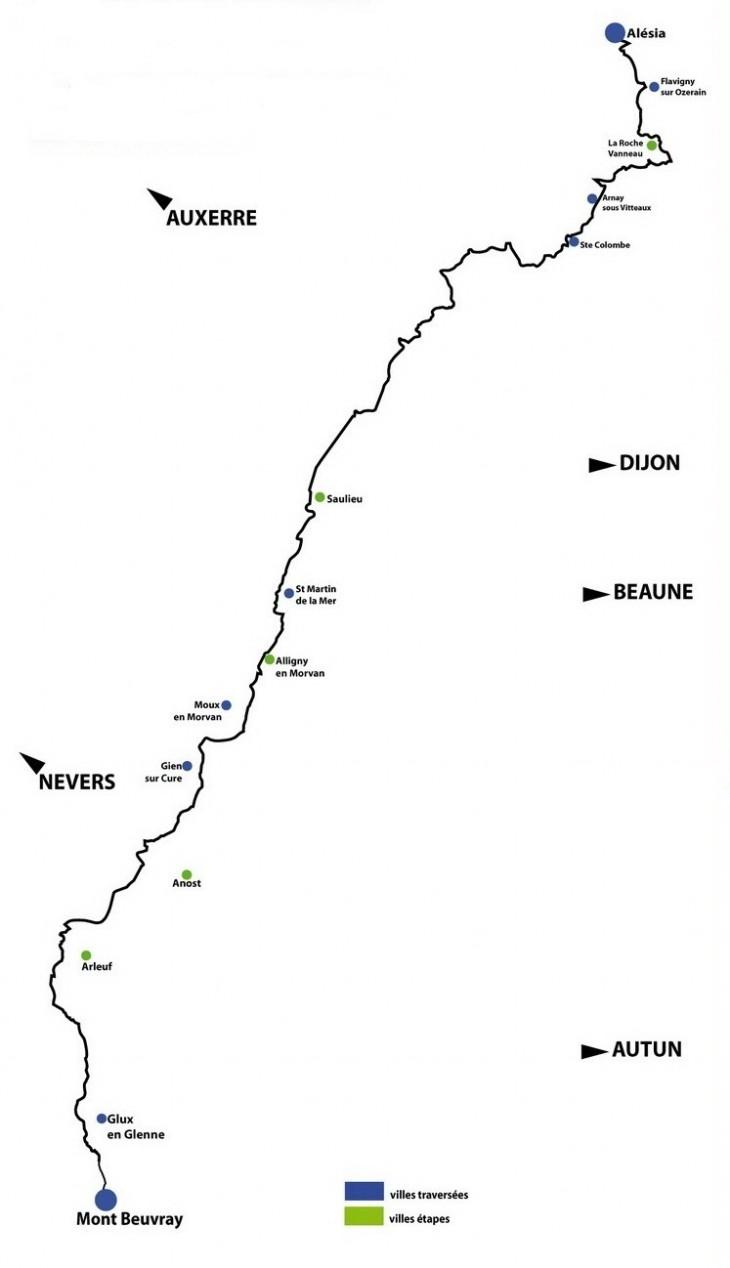 Parcours de randonnée du chemin Bibracte - Alésia