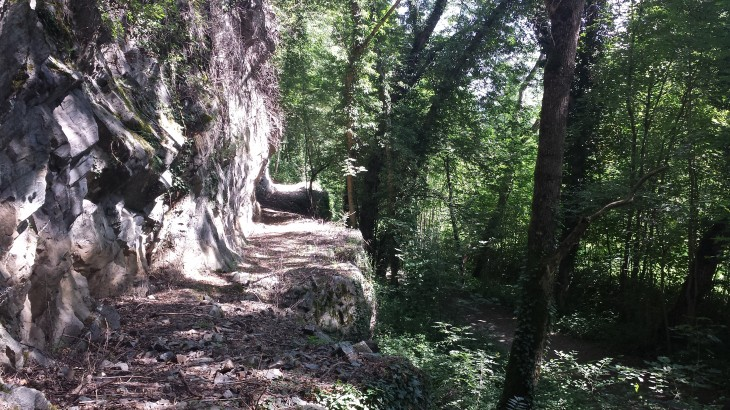 Presque masquée par la végétation, on devine avec difficulté l'un des tronçons de voie taillé dans la roche.