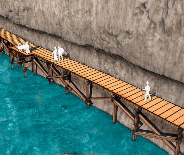La structure de bois qui recouvre le chemin de pierre pouvait ressembler à cela.