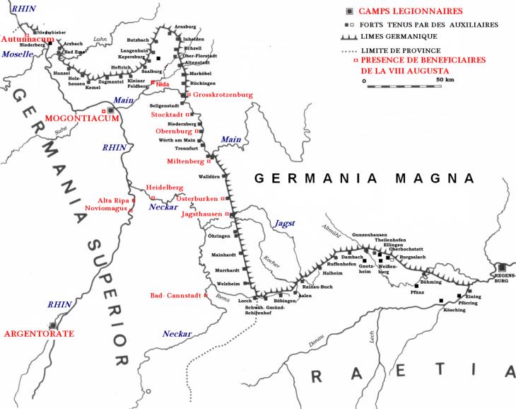 Fig. 5 : Carte de répartition des stationes de bénéficiaires (connues à ce jour) tenues par des légionnaires de la legio Octava Augusta (d'après le site dragonfantasy-verlag.ch, Die Limes Verteidigungslinie der Römer).