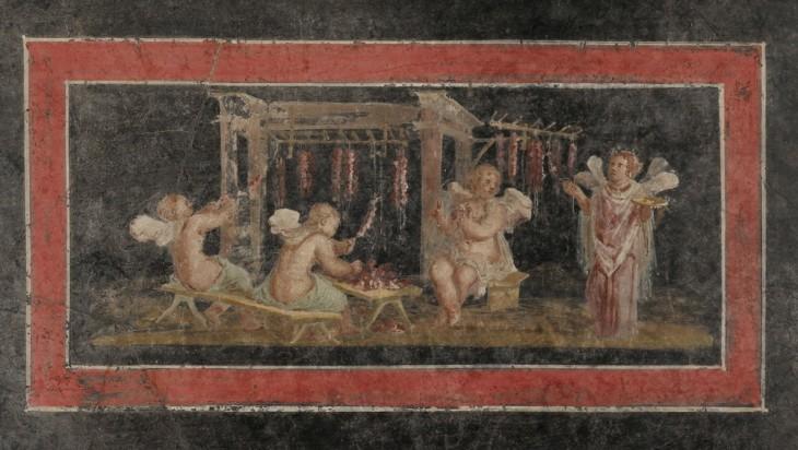 La fabrication de guirlandes roses par plusieurs Cupidon et Psyché, dans une peinture murale de Pompéi (Maison des Vettii): la Psyché sur la droite tient un bol de libation, un symbole de piété religieuse souvent dépeinte comme une rosette.