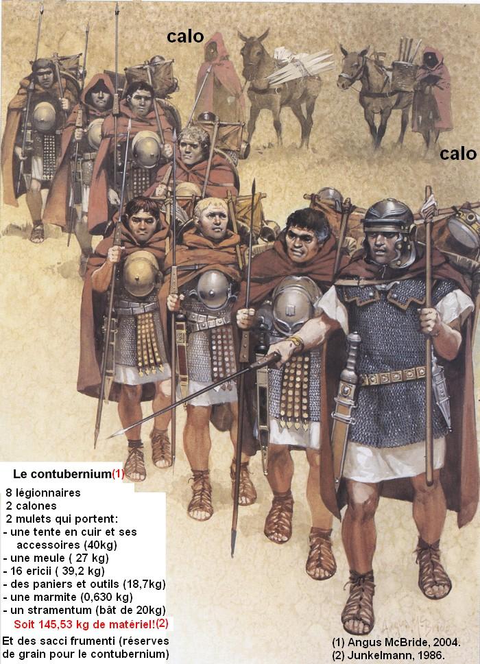 Les 8 légionnaires d'un contubernium et leurs mules