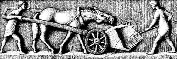 Dessin rassemblant deux fragments différents issus des collections d'Arlon et de Buzenol voyant les ouvriers agricoles et la mule s'affairant à récolter l'épautre grâce à la moissonneuse.
