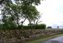 Le mur et l'ancienne voie romaine maintenant recouverte de goudron.