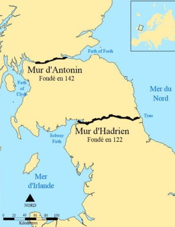 Carte des murs d'Hadrien et d'Antonin