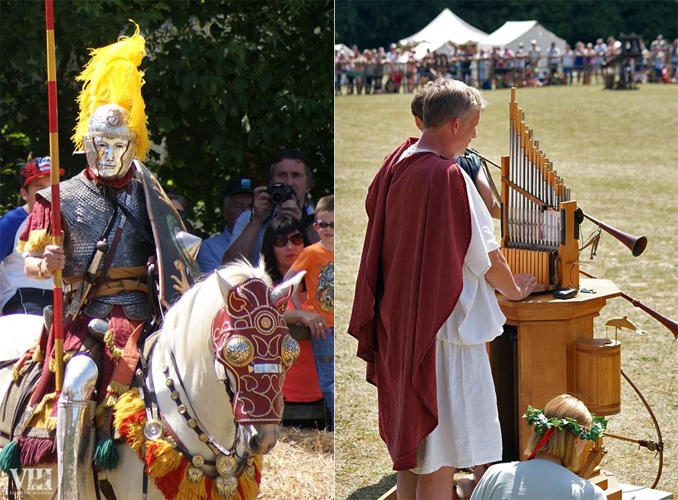 A gauche, cavalier romain avec masque à visage. A droite, un orgue à eau antique reconstitué.