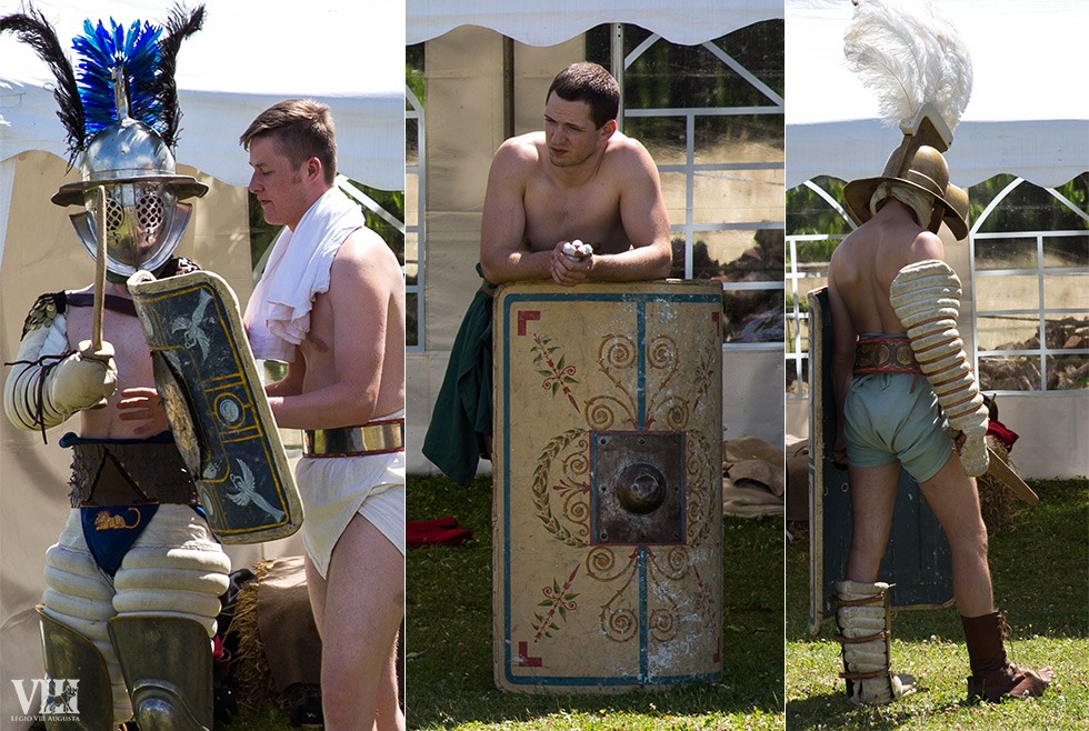 Les gladiateurs se préparent au combat.