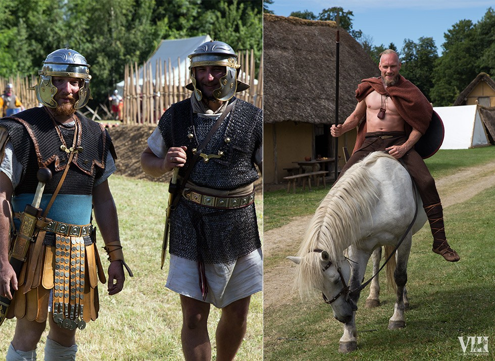 A gauche, un vétéran et son tiro. A droite, un cavalier germain,.