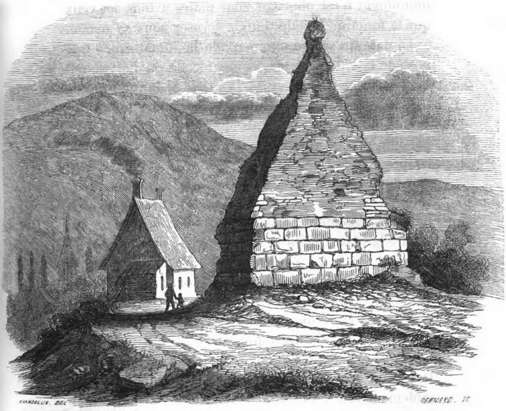 La pierre de Couhard, telle qu'elle apparaissait encore il y a quelques siècle - archives société éduenne