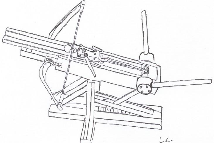 Gastraphètes de Zopiros ou Pétrobole (lanceur de boulet en pierre) 4 ème siècle avant J.C. (Dessin de l'auteur)