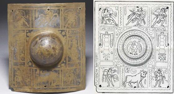 Fig. 1 : Grand umbo rectangulaire (30 x 26 cm) de scutum découvert en 1867 dans l'embouchure de la Tyne et conservé au British Museum de Londres (circa 155-158).