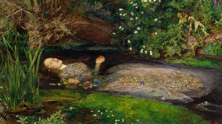 (Iuvenes, Amlethum ne sequimini : accipite dulcias illas ! Jeunes gens, ne soyez pas comme Hamlet : acceptez ses chocolats ! - Détail d'Ophelia par John Everett Millais, 1851-1852.)