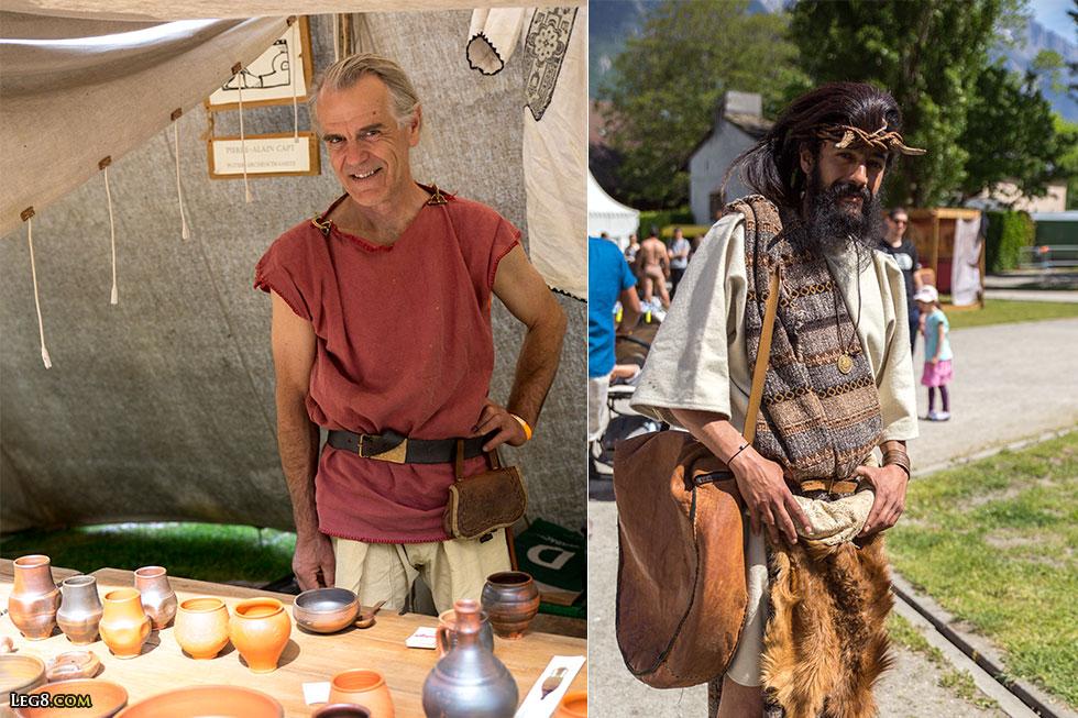 A gauche, Pierre-Alain Capt, archéocéramiste, et à droite, un musicien de Gallia Musica